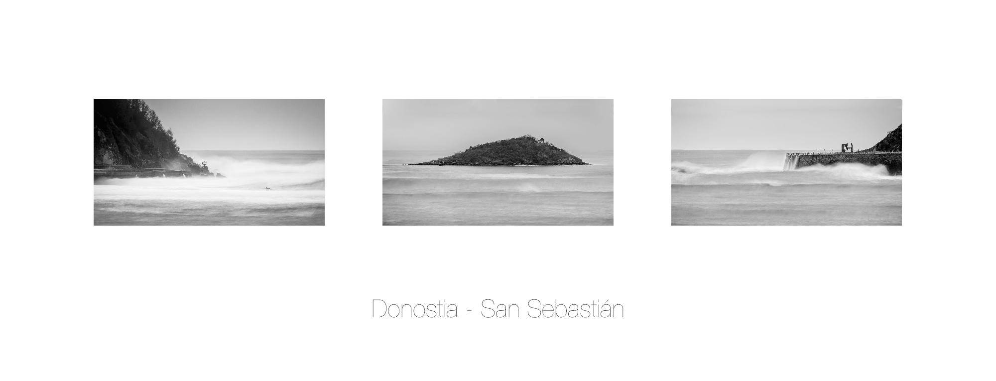 Fotografía Tríptico  en blanco y negro de la Bahía Donostiarra, Donostia San Sebastián